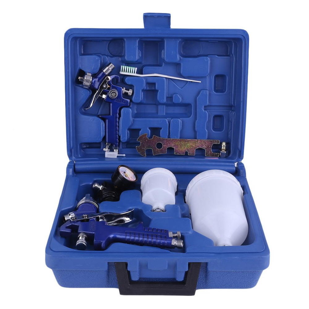 High Pressure Air Gravity Spray Paint Tool Device Set With Professional 2 Sprayer Paint Nozzle 0.8 Mm + 1.4 Mm Ship From DE поло print bar ship paint