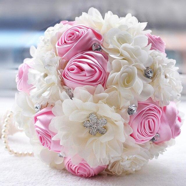 Стразы Свадебный Букет невесты Невесты Брошь Букет Искусственный Роуз Холдинг Цветок с перл Свадебные Аксессуары
