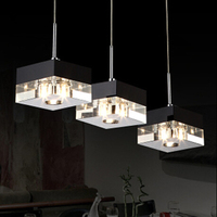 K9 Crystal Simple Fashion Modern LED Pendant Lights Stainless Steel Square Hanglamp For Bar Home Lightings