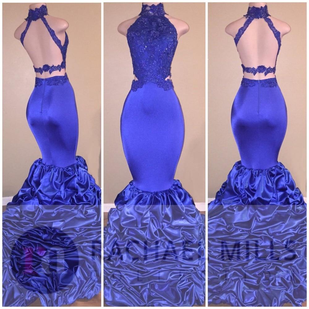 Royal Blue Mermaid   Prom     Dresses   2019 Vestidos De Fiesta De Noche Sexy Backless Formal Women Evening   Dresses   Occasion Gowns