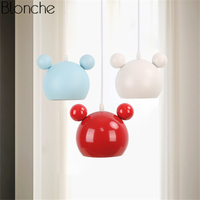 Nordic Mickey Pendant Lights Colorful Metal Hanglamp Led Lamp Hanging Light for Children's Room Bedroom Fixtures Decor Luminaria