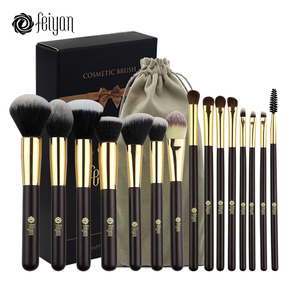 FEIYAN 15 pcs Professionnel Maquillage Pinceaux Synthétique Cheveux Fard À Paupières Poudre Blush Fondation Ensemble Cosmétique Brosse Kit avec Sac De Caisse