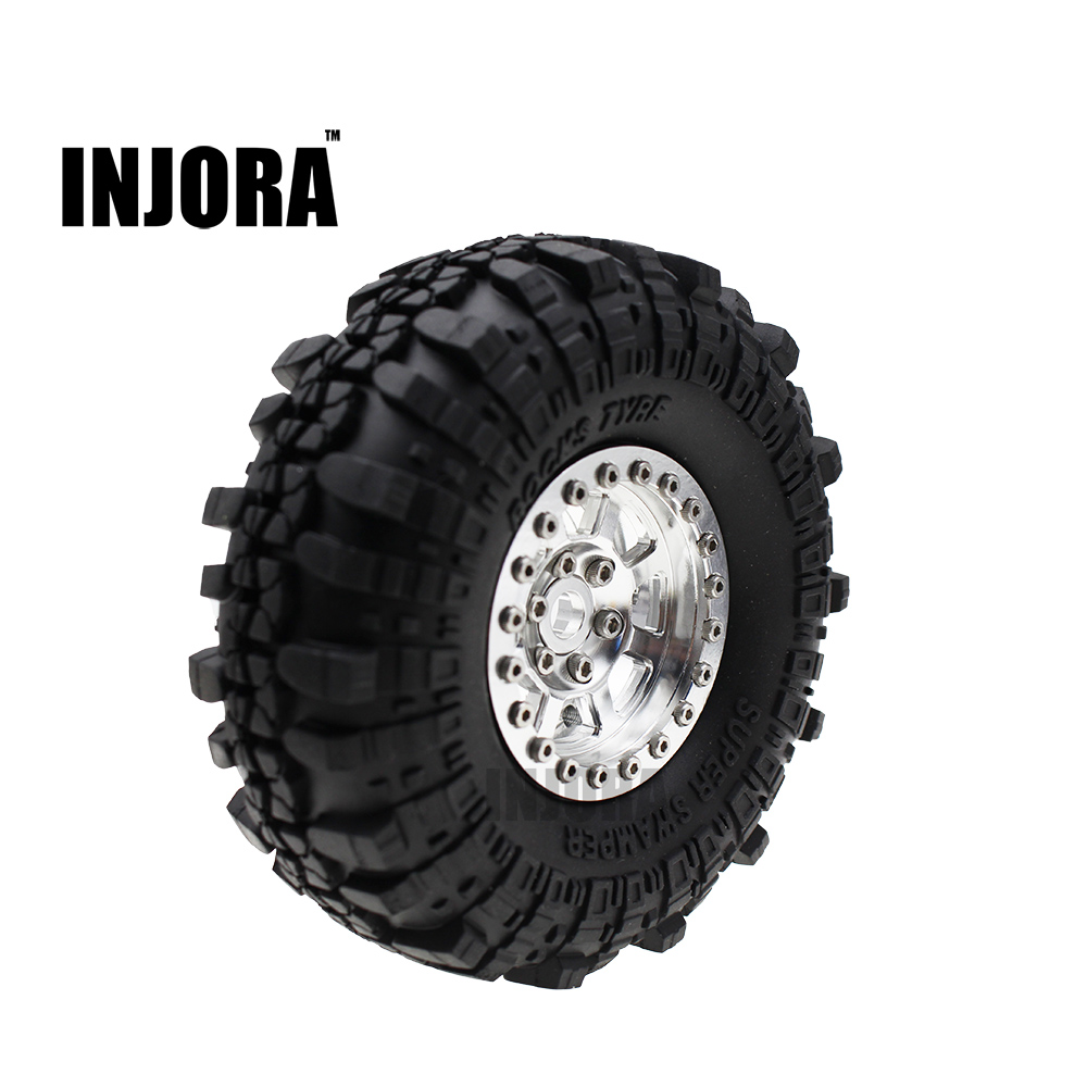 INJORA 4Pcs 1.9 Inch Rubber Wheel Tires & Metal Beadlock Wheel Rim Set for RC Crawler Axial SCX10 90046 90047 Tamiya CC01 RC4WD make international keith brymer jones punk range sugar bowl sugar stay or sugar go