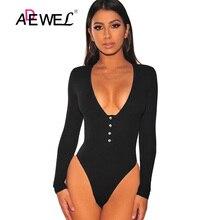 ADEWEL Sexy Deep V Long Sleeve Bodysuit Women Black Ribbed Knit Button Body Tops Playsuit Leotard Jumpsuit Romper Combinaison flounce shoulder ribbed knit bodysuit