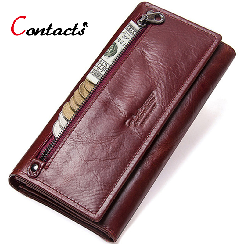 Contact's Wallet Female Long Cell Phone Clutch Credit Card Holder Ladies Genuine Leather Money Bag Coin Purse Carteira Feminina famous brands oil wax leather clutch bag women long wallets ladies coin purse wallet female card phone holders carteira feminina