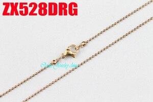 Image 3 - Rosa cor de ouro 1.2mm cadeia de bola com fecho da lagosta colar de contas correntes de aço inoxidável moda jóias 20 pcs ZX528DRG