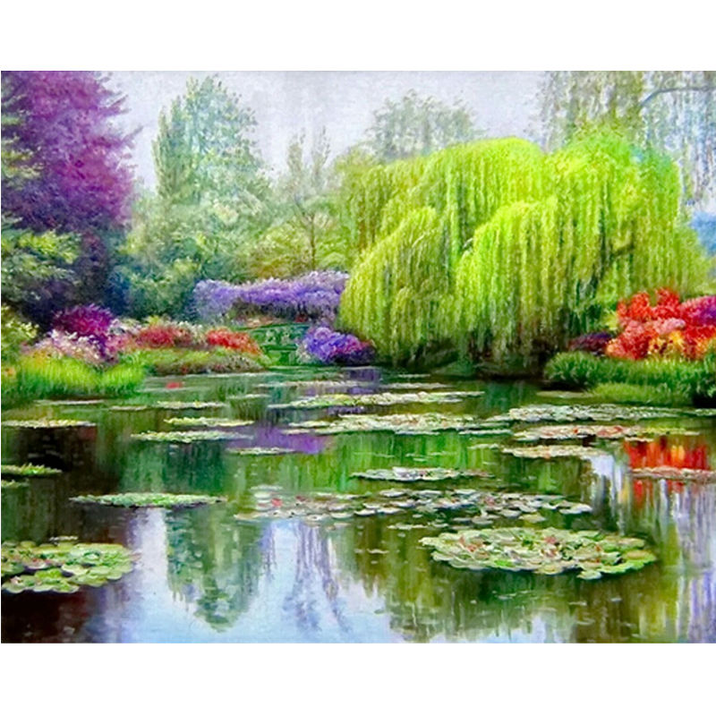 5D Diy Diamond Broderi Målning Grå Willow Tree Landskap Diamantmålning Cross Stitch Mosaic Beautiful Lake Scenery