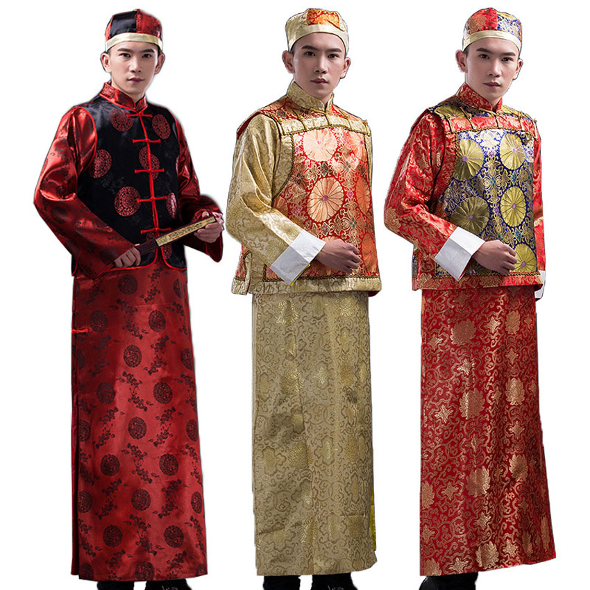 3PCs Chinese Traditional Costumes Wedding Party Wear Bridegroom Qing Dynasty Emperor Men Robe Ancient Tang Suit Cosplay Set