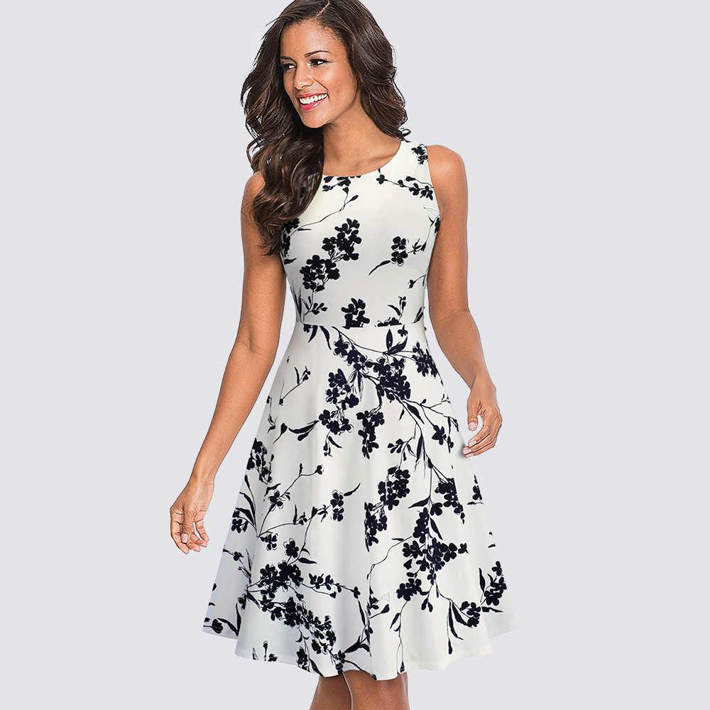 Женская Повседневная Туника без рукавов, Свинг, вечерние платья, летнее винтажное платье трапециевидной формы с принтом, HA099
