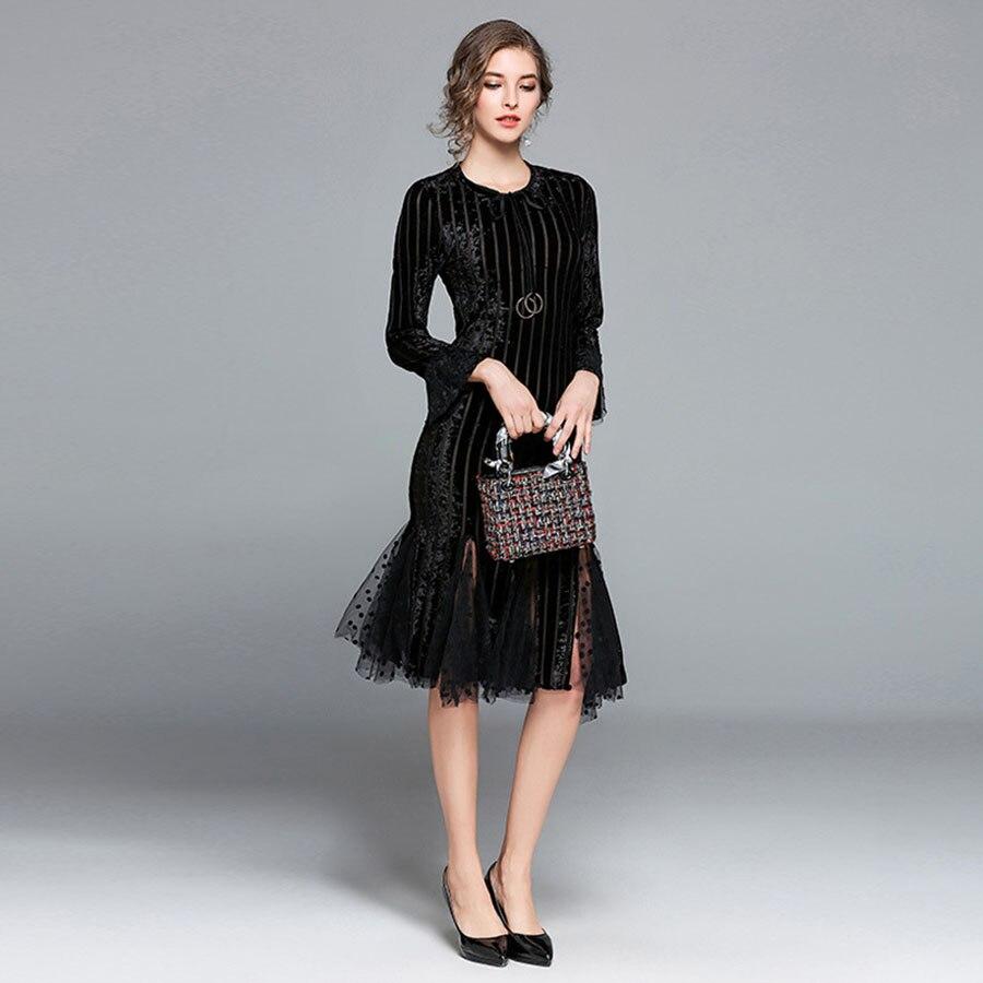 2019 printemps été robe mode femmes décontracté lâche élégante robe à manches longues o-cou Sexy robe noire avec Vestidos 5ZC0155