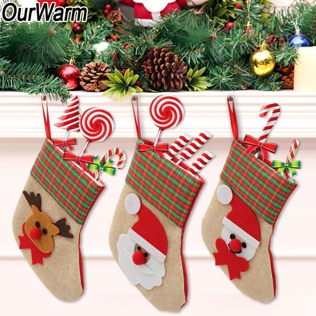 Ourwarm Pcs New Year Mini Christmas Stocking Gift Bags Noel Christmas Decorations For Home Santa Claus