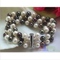 Free shipping 3ROW 8 9MM WHITE BLACK ROUND FW PEARL BRACELET MAGNET@^Noble style Natural Fine jewe