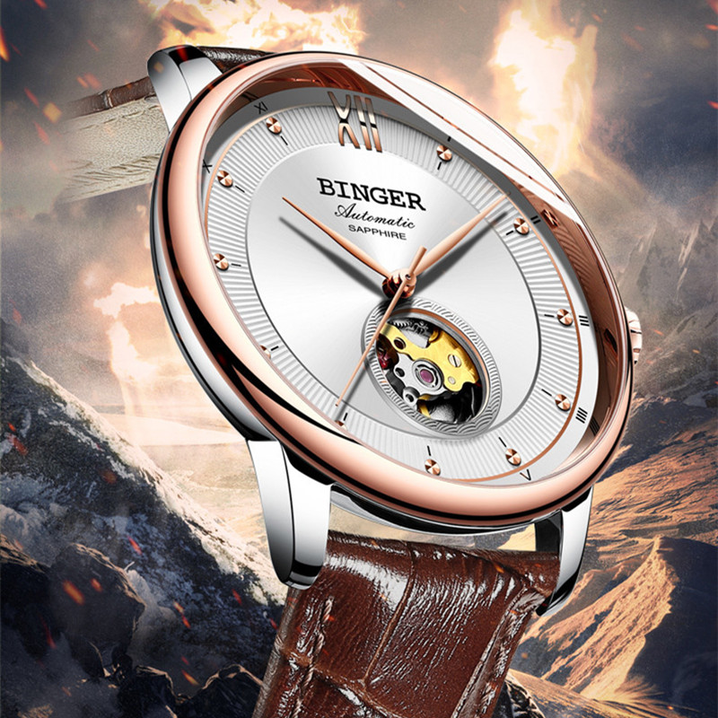 Simple Fashion Men Genuine Leather Strap Watches Self-wind Lovers Mechanical Watch Business Dress Women Hollow Wristwatch Analog