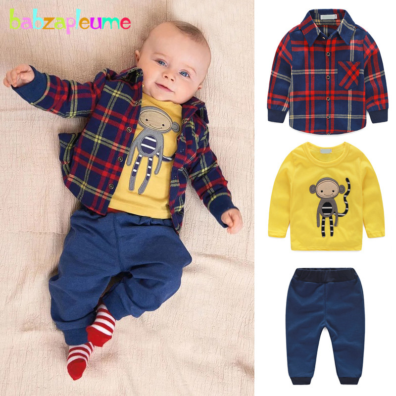 3PCS/0-24Months/Spring Autumn Newborn Baby Boys Suit Clothing Set Plaid Shirt+Cartoon T-shirt+Casual Pants Infant Clothes BC1193 newborn infant baby girls boys spring short sleeves cotton clothes suit 2 pcs baby unisex cartoon casual strapped clothing set