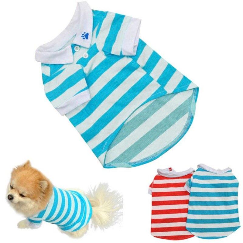 New Qualified Cute Dog Puppy T Shirt Clothes Lapel Stripe Cotton Pet Clothes Hot sale pet clothes roupa de cachorro D48SE4