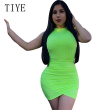 TIYE New Arrival Summer Bodycon Bandage Mini Dress Women Celebrity Sleeveless Sexy Night Out Party Short Femme Vestidos