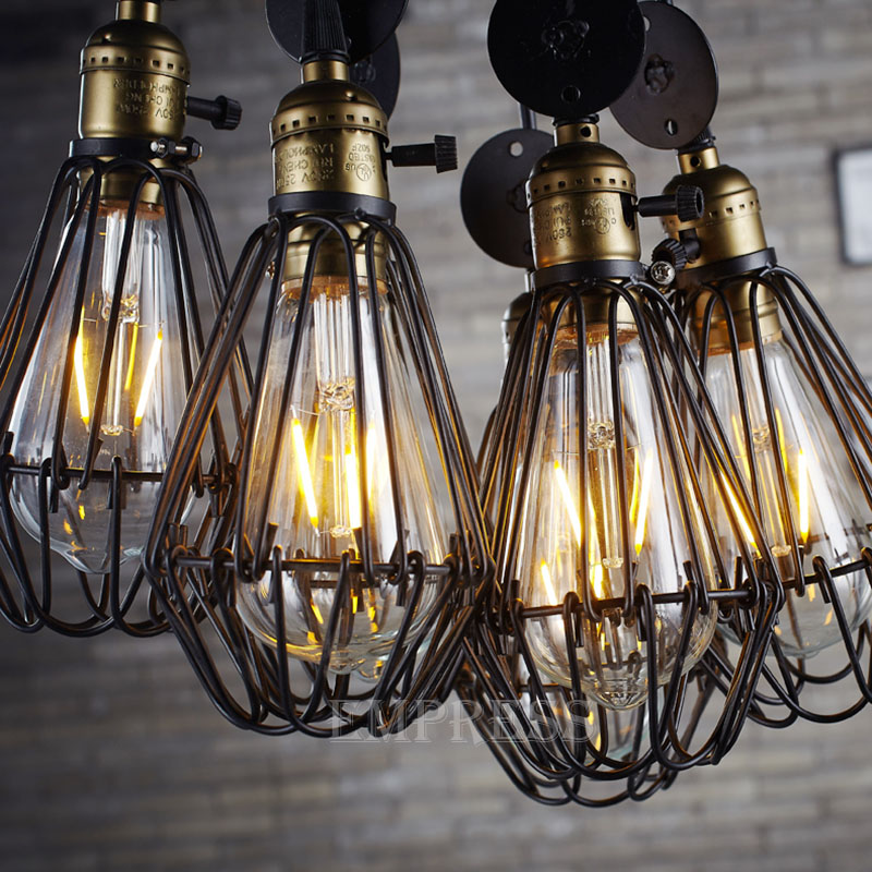 Birdcage Lights Iron Wire Lamp Cage retro Lampshade Vintage ...