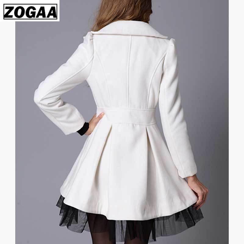 ZOGAA Brand Women Long Trench Coat Spring Autumn Double Breasted Solid Slim Fit Overcoat Lace Windbreaker Outwear Women Clothing