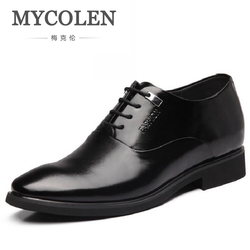 MYCOLEN New Men's Lace-Up Oxfords Dress Shoes Mens Leather Business Office Wedding Flats Man Party Shoes Invisible Increase mycolen 2018 new fashion mens oxfords vintage dress shoes luxury brand comfort office man shoes for party sepatu pria