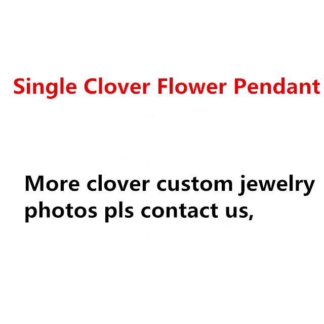 100% 925 Sterling Silver Jewelry For Women Necklace Black Green Red Stone Shell mini Four Leaf Clover One Flower Pendant