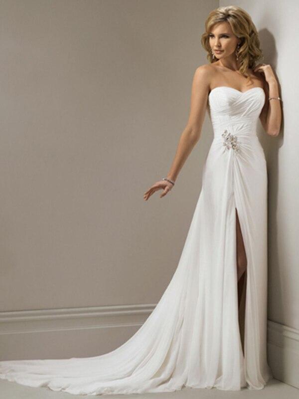 4834078e1247 Vestidos De Novia Chiffon Beach Wedding Dress Summer Front Slit Cheap  Wedding Dress Robe De Mariage Bridal Gown