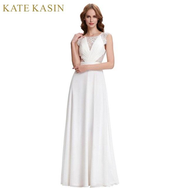 Kate Kasin Weiß Abendkleider Lange Chiffon Abendkleid 2018 Sexy ...