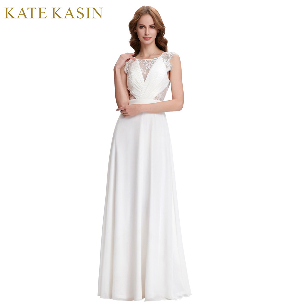 Kate Kasin White Evening Dresses Long Chiffon Prom Dress ...