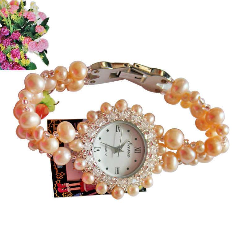 2019 offre spéciale nouveau 3 couleur Spot authentique naturel perle Bracelet montre femme Table supermarché bijoux boutique approvisionnement montres