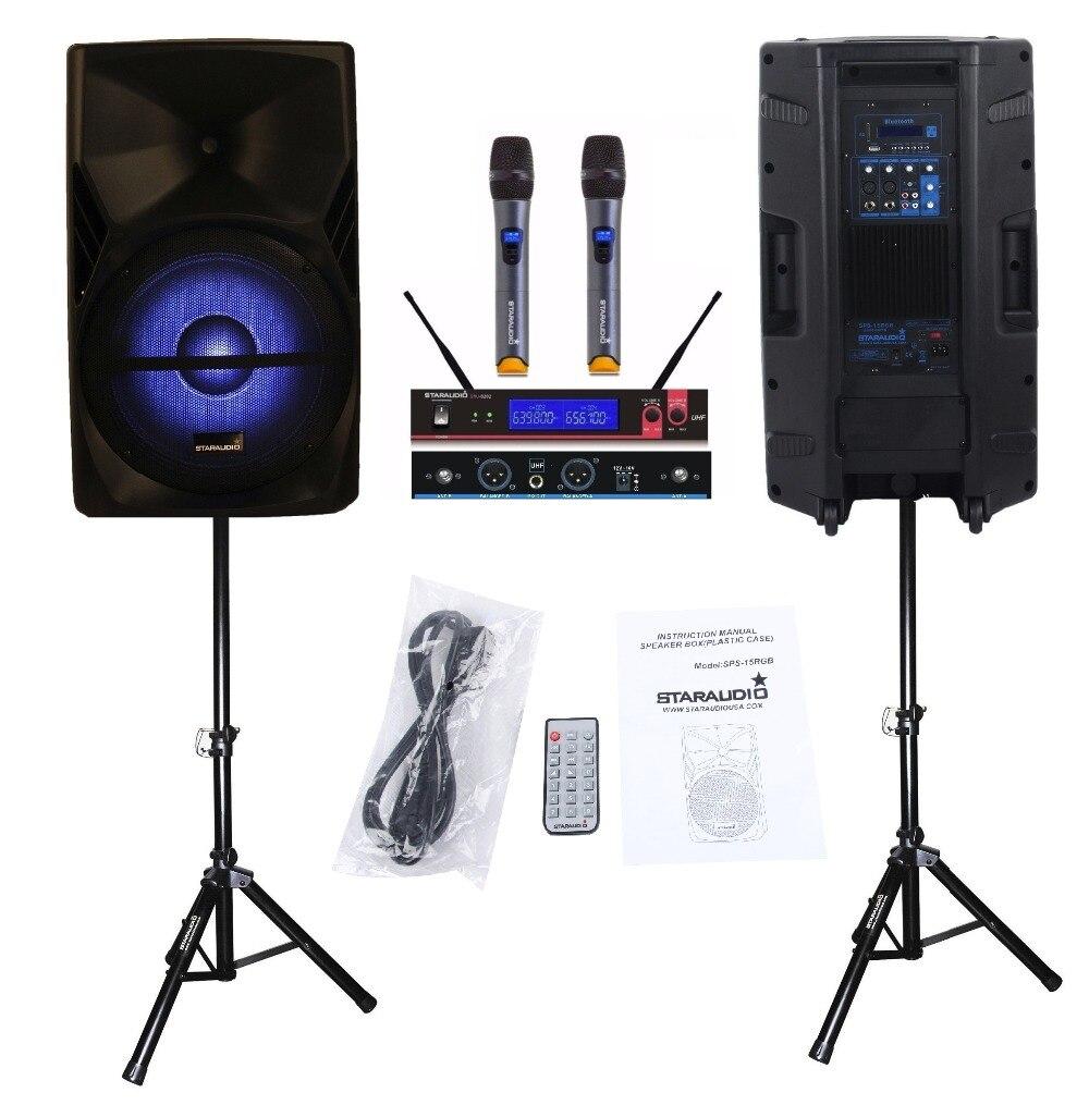 STARAUDIO SPS-15RGB Pair 15&#8243; 3500W PA DJ Stage Power <font><b>Active</b></font> MP3 SD FM RGB BT Karaoke <font><b>Speakers</b></font> W/ 2 Stands 2CH UHF Handheld Mic