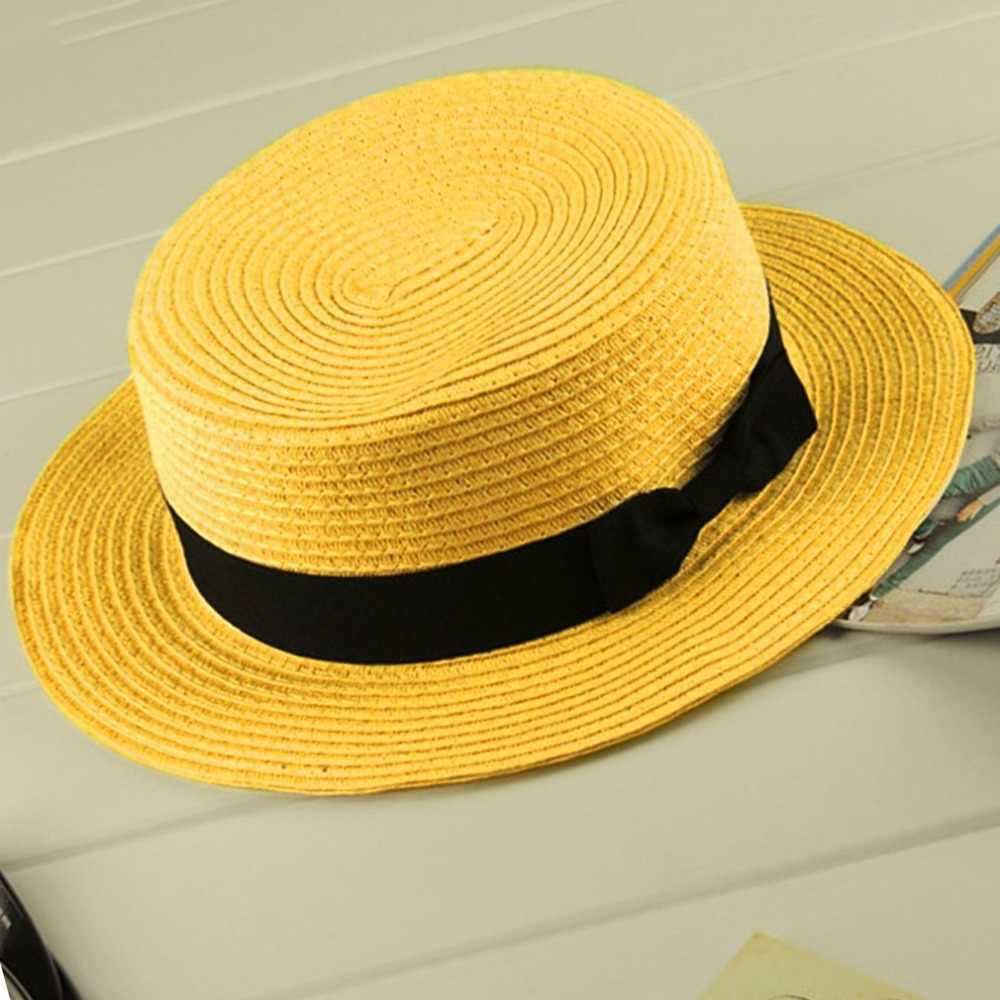 Fashionable Design Children Girls Adult Women Summer Sunscreen Boater Hat  Classic Weave Straw Ladies Flat Top 5cdfa998bfed
