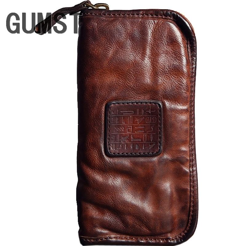 GUMST Brand Men Genuine Cowhide Leather Clutch Bag Business Mens Bag Big Capacity Cow Leather Wallet