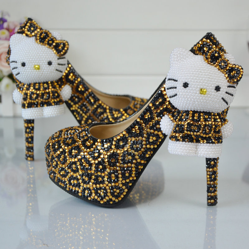 Leopard Gold and Black Rhinestone Wedding Shoes with Hello Kitty ...
