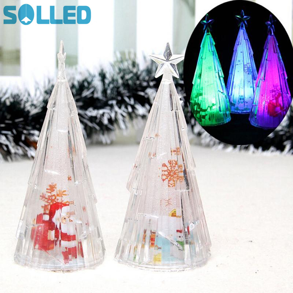 SOLLED Christmas Trees Xmas Decorations In The Desktop Color Changing - Holiday Lighting