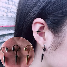 2 pcs/pair Creative Hook Cone Shaped Earrings Punk Titanium Steel Screw Ear Piercing Fashion Jewelry