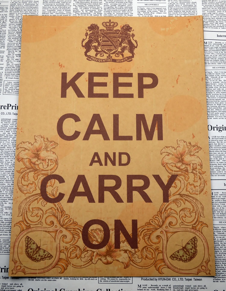Calm and carry on keep keep cool World War II retro poster study office decoration painting