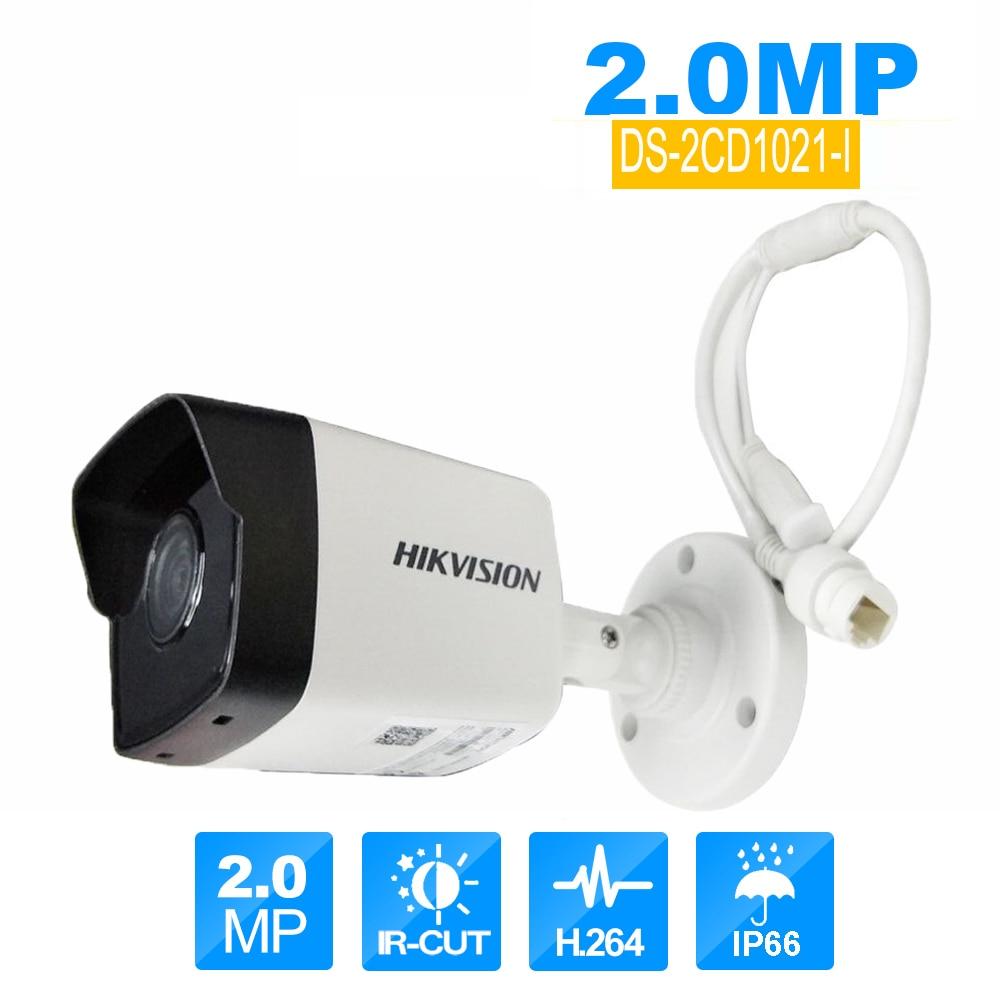 4Pcs Hikvision ip Camera outdoor videcam video surveillance kit alarm system for home DS-2CD1021-I&DS-7104NI-E1/4P hik ds 7604ni e1 4p p2p 4ch poe network video recorder with waterproof 2 megapixel bullet ip camera ds 2cd1021 i ip camera