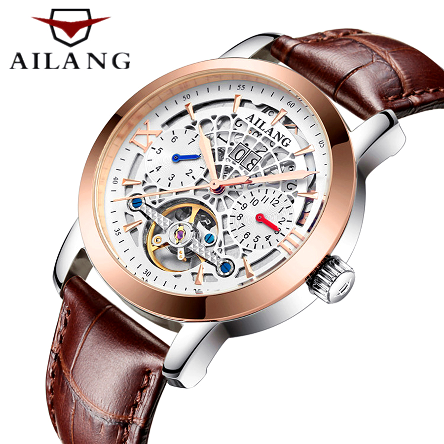 Skeleton Tourbillon Mechanical Men Watch AILANG Famous brand leather Wrist watch Automatic Mechanical Watch Relogio Masculino hot sell free shipping seraph of the end krul tepes pink long clip ponytail cosplay party wig hair