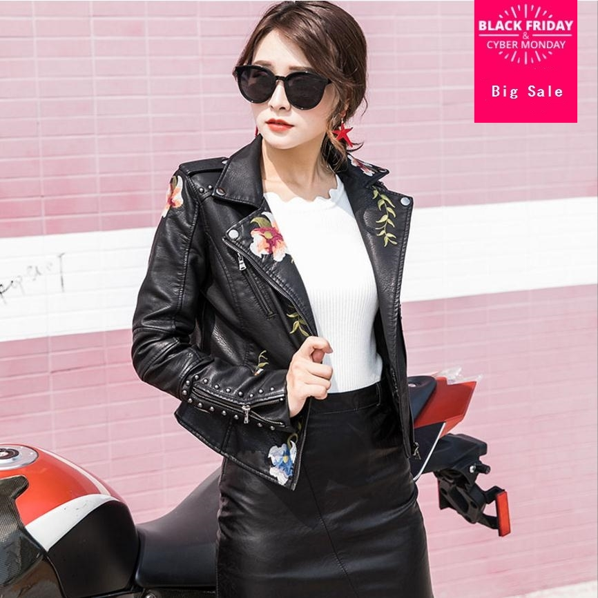 Autumn Fashion brand Good Quality Rivet   leather   jacket female Street style embroidery zipper PU   Leather   Jacket with belt wj1893