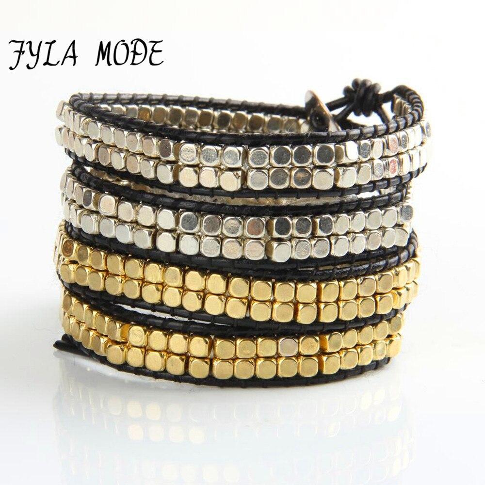 Fyla Mode Fashion Jewelry Handmade Leather Bracelet 4 Wrap Bracelet Ccb  Gold Silver Plated Square Beads Leather Wrap Bracelet