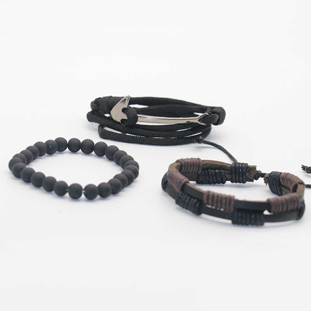 HOMOD nowe mody kotwica koraliki skórzane bransoletki i bransolety 4 sztuk 1 zestaw wielowarstwowy zegarek z plecionym paskiem bransoletka mężczyzn pulseira