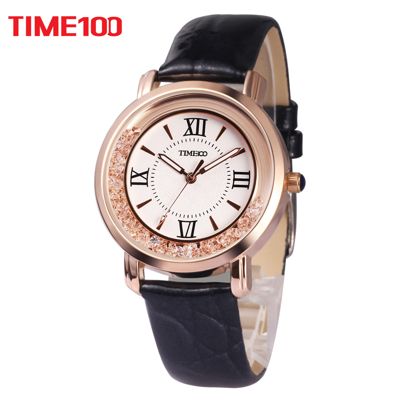 2017 New TIME100 Women's Watch Black Leather Strap Roman Numeral Big Dial Ladies Quartz Wrist Watches For Women relogio feminino kezzi brand women leather strap watches retro roman dial dress watch ladies irregular dial quartz watch relogio feminino cheap