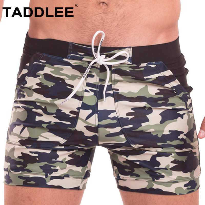 Taddlee Brand Swimwear Men Swimsuits Sexy Swim Boxer Plus Size Long Basic Beach Trunks Briefs Camo Pockets Surf   Board     Shorts   XXL