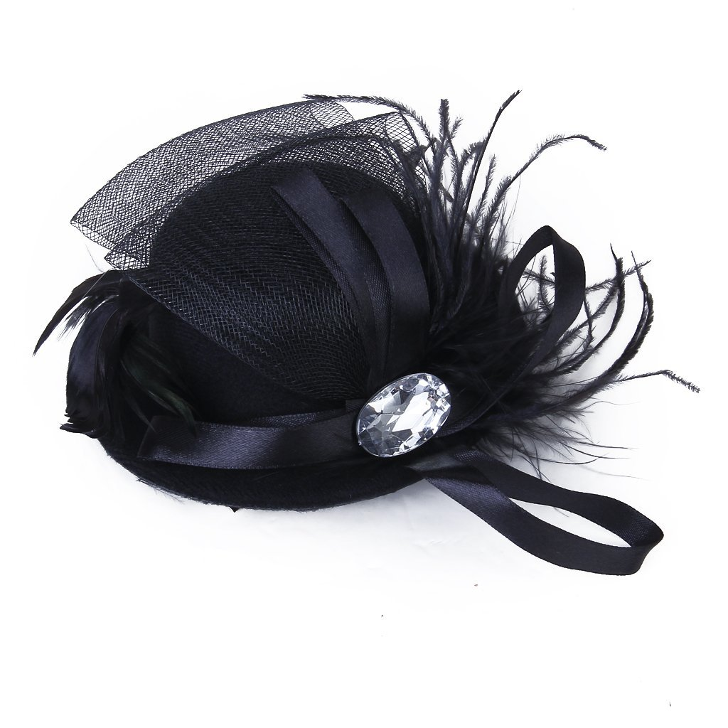 Women Barrette Strass spring Burlesque Punk Mini Hat black