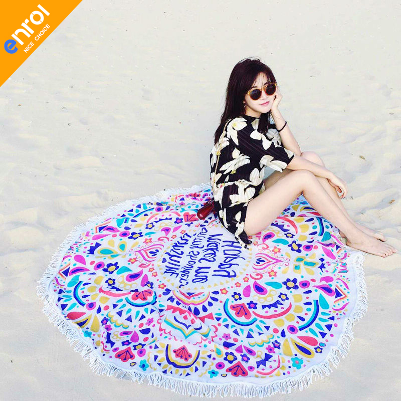 Round Beach towel Soft And Quick Drying Bath towel 160cm Diameter With tassels Yoga mat The table cloth Freeshipping in Bath Towels from Home Garden