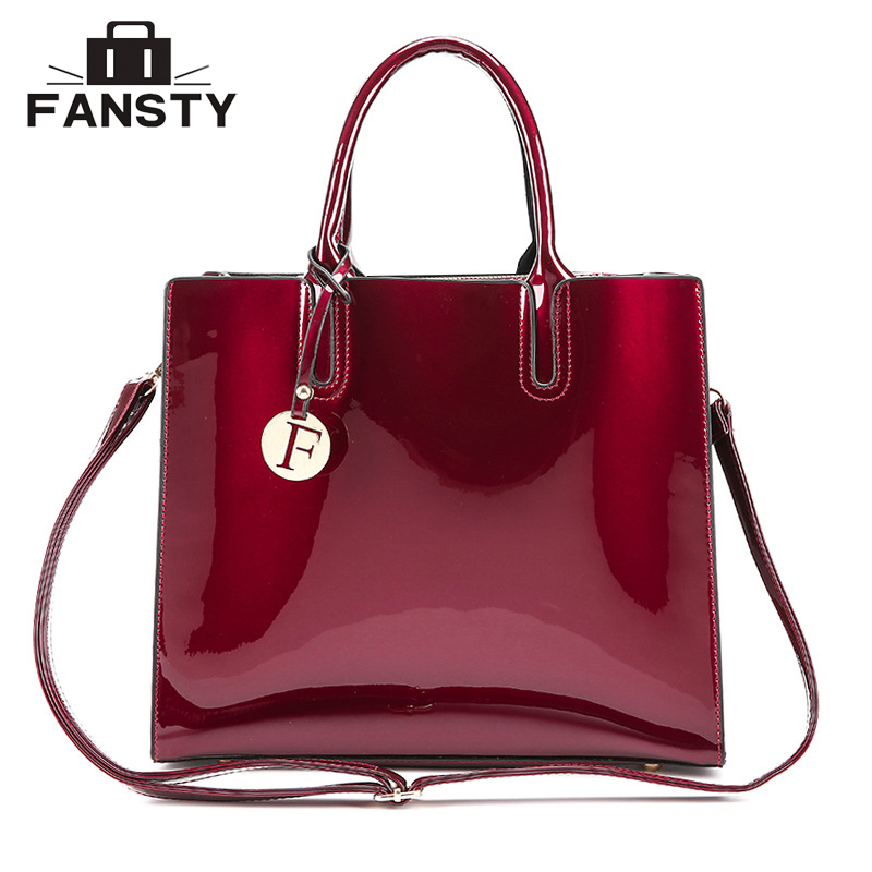Fashion Brand Designer Women Big Totes Handbag Office Lady Patent Leather Jelly Cross Body Bag Female Vintage Shoulder Bags newest luxury brand women bag fashion design cowhide leather handbag lady totes sequined original shoulder bag