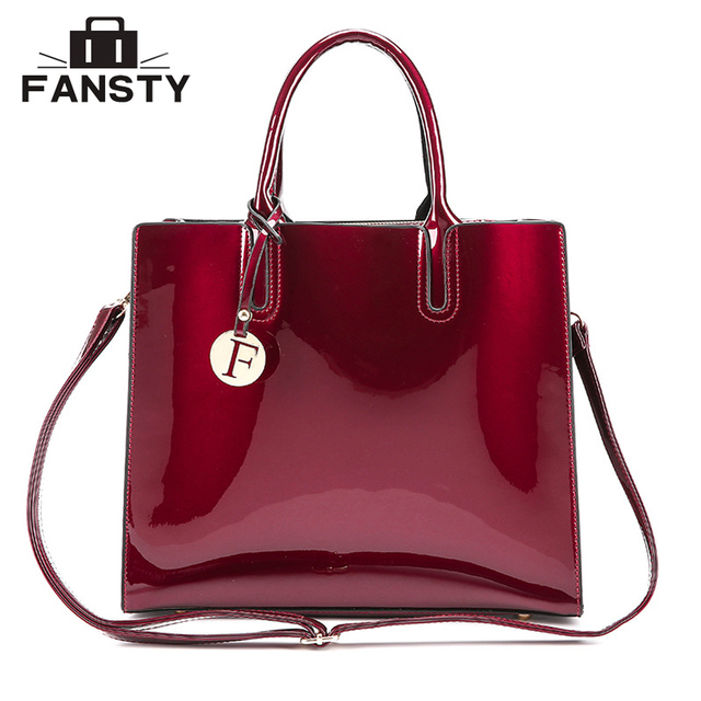 Fashion Brand Designer Women Big Totes Handbag Office Lady Patent Leather  Jelly Cross Body Bag Female Vintage Shoulder Bags-in Shoulder Bags from  Luggage ... 92357fd9a9b59