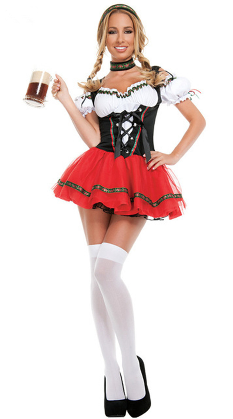Sexy Adult Beer Girl Festival Dresse Halloween Costume French Cosplay Oktoberfest Maid Party For Women Suspenders Dress
