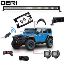 "3D 300W 52"" Dual Row Combo Straight Offroad LED Light Bar +18W Work Light + Remote Control Switch For JEEP Wrangler JK 07 17 Kit"