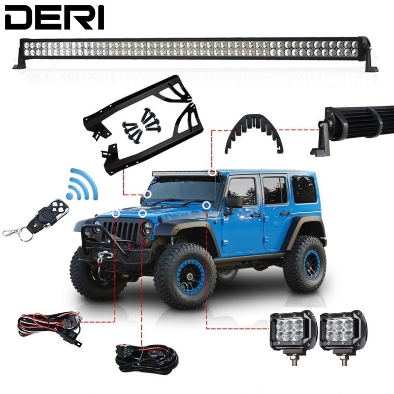 3D 300W 52 Dual Row Combo Straight Offroad LED Light Bar +18W Work Light + Remote Control Switch For JEEP Wrangler JK 07 17 Kit