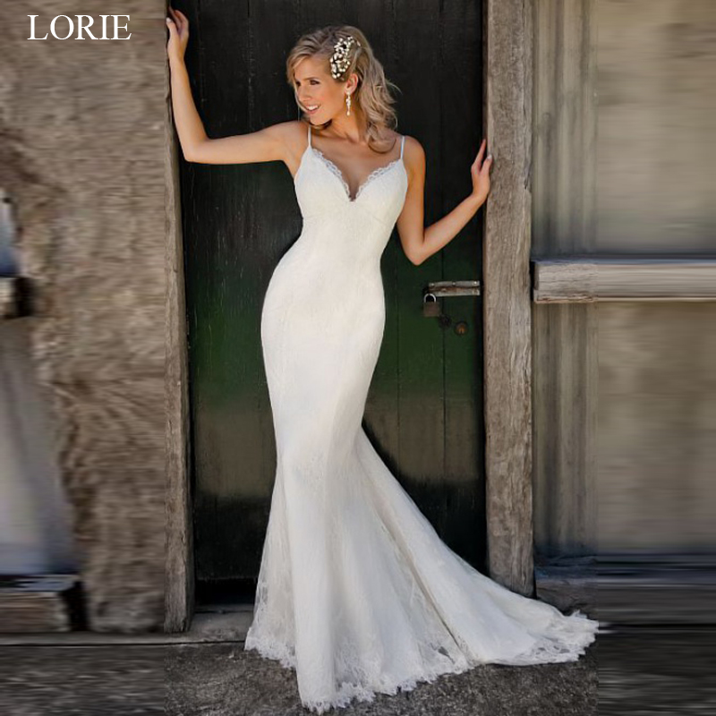 LORIE Boho Wedding Dress 2019 V Neck Spaghetti Straps Lace Mermaid Wedding Gown Custom Made Backless Bride Dresses Plus Size
